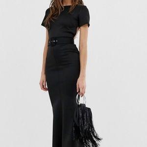 ASOS Belted Black T-Shirt Open Back Maxi Dress 4